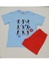 Pijama nene. Remera M/C con cuello y short al tono. Colores surtidos. Elemento.