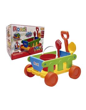 Vagón/Carretilla de arrastre para todo tipo de superficies. Permite transportar diferentes materiales,incluye pala,rastrillo y balde. Rondi