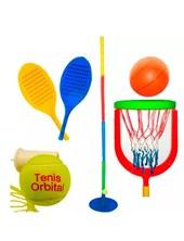 COMBO: Tenis + basquet (incluye: paletas, pelota tenis y basquet, aro de basquet.  Serabot