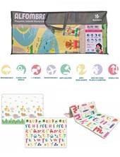 Alfombra piso plegable infantil reversible 200X180X1. Letras y animales. Rainbow