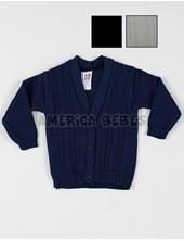 Cardigan bebe tejido c/torzadas. Colores: Beige-Azul-Negro. CEO.