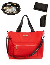 ART.147 Bolso maternal ATENAS Rojo impermeable liso. Incluye cambiador y porta-mamadera. Colores surtidos. Happy Little Moments.