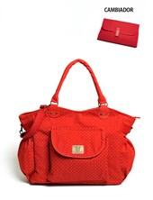 ART.131 Bolso maternal Gabardina Lola Rojo con cambiador y bolsillo con boton. Colores surtidos.Happy little moments