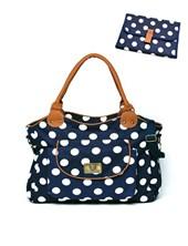 ART.131 Bolso maternal Gabardina Paula Azul con cambiador y bolsillo con boton. Colores surtidos.Happy little moments