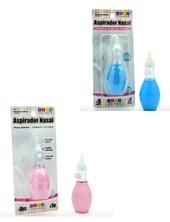 Aspirador nasal. Pico siliconado y sistema de doble válvula, para aspirar sin expulsar aire en los orificios nasales. COLOR AZUL y ROSA Baby Innovation.