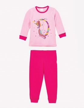 Pijama M/L nena estampado. Naranjo
