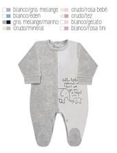 Enterito en algodon con frente combinado a dos colores, con pie y estampa lateral. Disponible en tonos de nena y de varon. Dreams