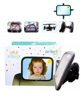 Espejo Auto Para Bebé Vista 360 Grados. Gris oscuro. Priori