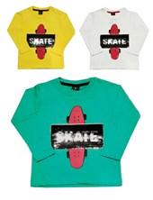 Remera M/L Skate con lentejuelas. Colores surtidos. Gepetto