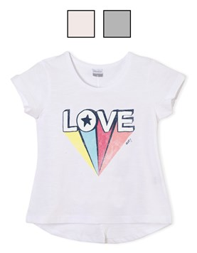 Remera jr nena c/estampa 'love'. Colores surtidos. Gepetto