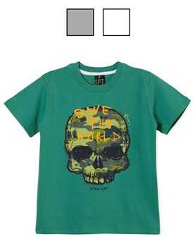 Remera jr varón c/estampa 'calavera'. Colores surtidos. Gepetto