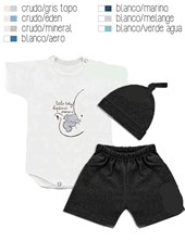 SET 3 PZAS.BB.BODY,SHORT Y GORRO. DREAMS