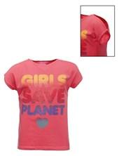 """Remera M/C con estampa de glitter """"Girls save planet"""". Posto 5"""