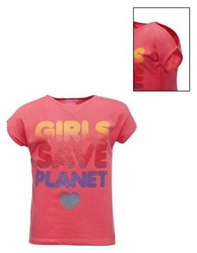 Remera M/C con estampa de glitter 'Girls save planet'. Posto 5