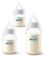 Pack x 3u Mamadera anticólicos.  1 de 125 ml,  1 de 260 ml,  1 de 330 ml. Avent
