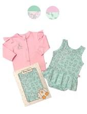 Set 2 piezas beba: body con faldita y saquito algodon. Colores surtidos. Baby Skin