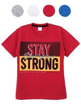 Remera manga corta nene estampada Stay strong. Colores surtidos. Ruabel