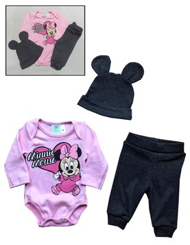 CAJA: Set body + Pantalón + Gorro de minnie. Colores surtidos. Disney