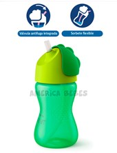 Vaso con sorbete flexible nene 300ML. iseño de válvula antifuga para evitar derrames. 12M+. Avent Philips.