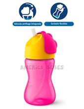 Vaso con sorbete flexible nena 300ML. iseño de válvula antifuga para evitar derrames. 12M+. Avent Philips.