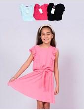 Vestido de algodon plumety  con volados. Colores surtidos.  Popeye Kids