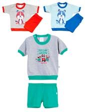 Pijama Remera m/c y short BB Varon estampado. Colores surtidos. Naranjo.