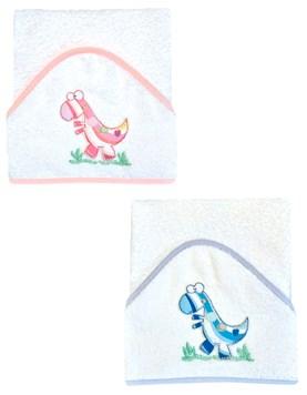 Toallón con capucha sublimada y bordada,terminación en bies 'Little Dino'. Colores surtidos. Mi bes
