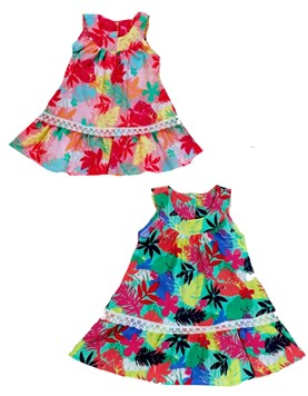 Vestido poplin estampado con encaje beba. Colores surtidos. Solcito