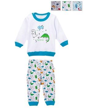 Pijama Bebe M/L estampado. Colores surtidos. Naranjo.