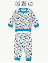 Pijama Bebe M/L Estampado dinos. Colores surtidos. Naranjo.
