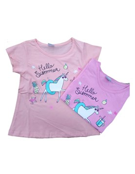 Remera nena M/C estampada unicornio. Colores surtidos. Gepetto