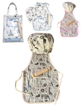 Set cocinerita/o: pechera+gorro+palo madera (3 a 9 años) en bolsa cristal haciendo juego. Colores surtidos. America