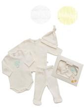 Set 4 piezas Body , Saquito,  Ranita,  Gorrito Algodon Baby Skin