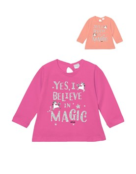 Remera bb nena c/estampa 'magic' y brillos. Gepetto