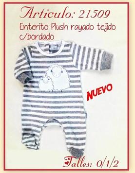 Enterito Plush tejido Rayado con Bordado Solcito