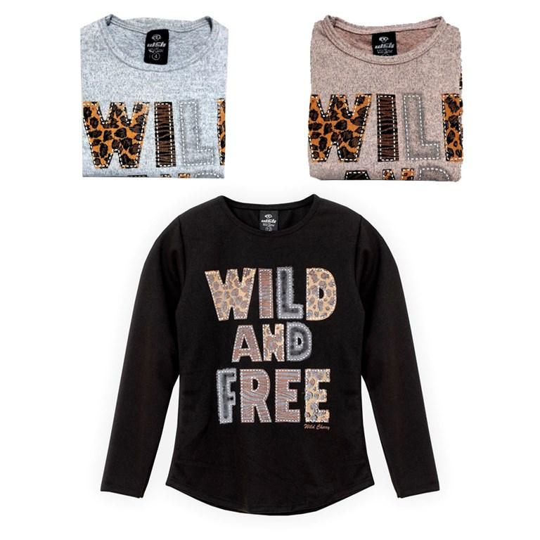 Remera M/L nena Wild and Free. Colores surtidos. Wild Cherry