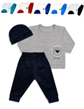 Set 3 piezas bebe. Pantalon-buzo-gorrito. Colores surtidos. Dreams