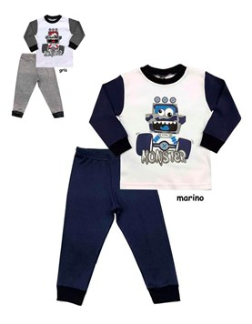 Pijama Varon combinado, pantalon y remera M/L. Colores surtidos. Picolo