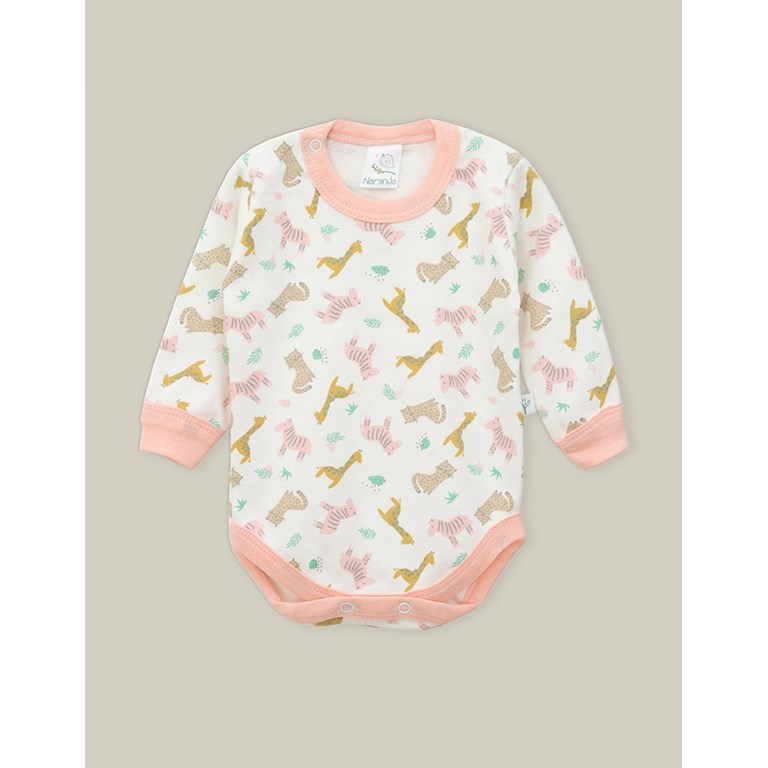 Body Frances con Broche ESTAMPADO. Colores surtidos. Naranjo.