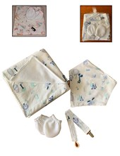 Set en Bolsa de tul con Manta polar Miton  Babero y Porta chupetes