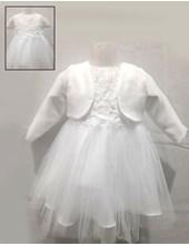 Vestido manga larga con flores aplicadas. Children Dior