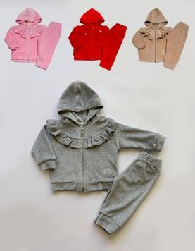 Conjunto de Plush Campera con Volados y pantalon. Colores surtidos. Poninos