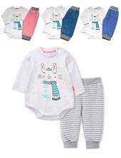 Conjunto Plush de Bebe Body y Pantalon con Puño. Colores surtidos. Premium
