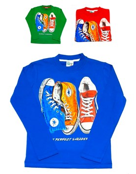 Remera M/L nena zapatillas. Colores surtidos. Picante