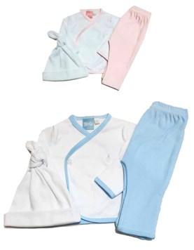 Conjunto 3 piezas interlock batita,pantalon con guante y gorrito. Colores surtidos. Picolo.
