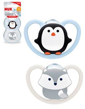 Chupete Space x2. Pinguino- Lobo. 0-6 Meses. Nuk.