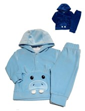 Conjunto Plush Bebe buzo con Hipopotamo y pantalon. Poninos