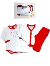 Set 4 piezas Body , Cardigan,  Pantalon,  Gorro Algodon Baby Skin