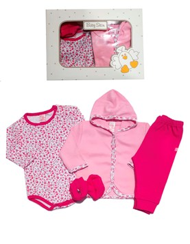 Set 4 piezas Body ,Cardigan,Pantalon,Escarpin Algodon Baby Skin