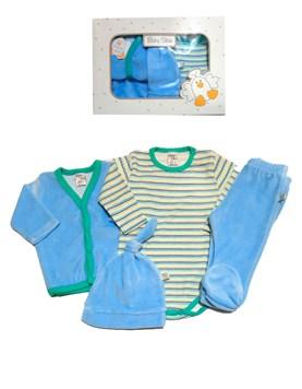 Set de 4 Piezas Plushc Bebe Body Cardighan y Ranita. Colores surtidos. Baby skin